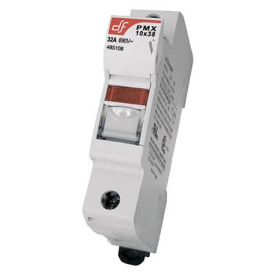 Держатель для цилиндрических предохранителей DF Electric PMX 10 1P + N c визуальным индикатором срабатывания