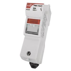 Держатель для цилиндрических предохранителей DF Electric PMX 14 1P c визуальным индикатором срабатывания 24VDC
