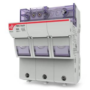 Держатель для цилиндрических предохранителей DF Electric PMX 14 3P + N c визуальным индикатором срабатывания