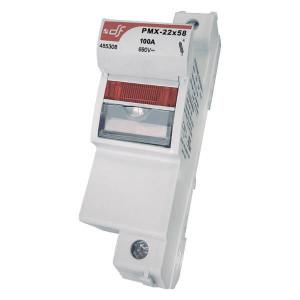 Держатель для цилиндрических предохранителей DF Electric PMX 22 1P с индикатором 24В DC