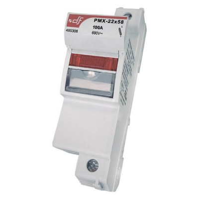 Держатель для цилиндрических предохранителей DF Electric PMX 22 2P c визуальным индикатором срабатывания