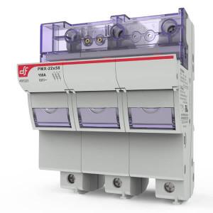 Держатель для цилиндрических предохранителей DF Electric PMX 22 3P c визуальным индикатором срабатывания